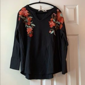 Soft Surroundings floral embroidery thermal, XL
